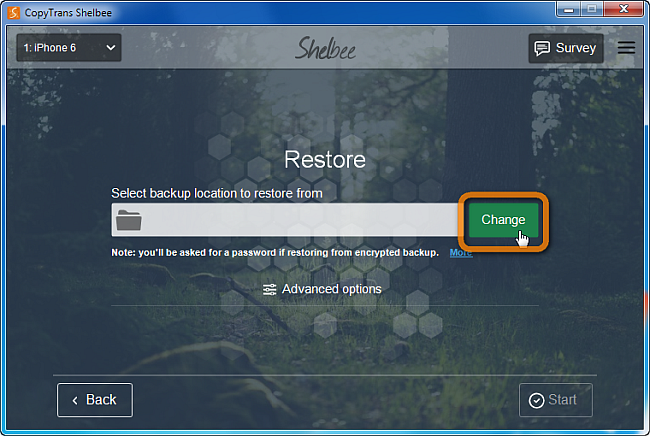 choose button to select backup location