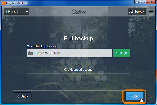 start iphone backup in shelbee