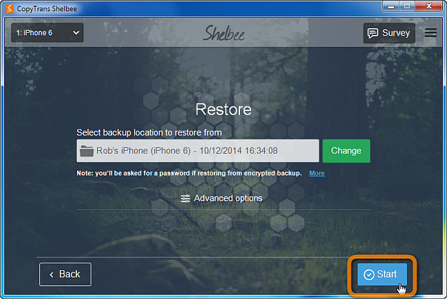 start iphone restore with copytrans shelbee
