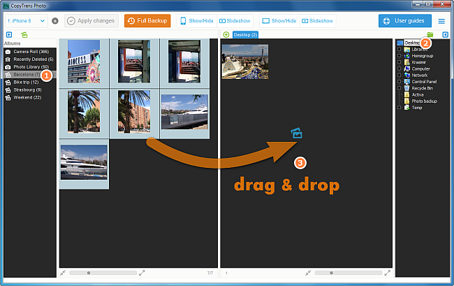 drag and drop photo function in copytrans photo