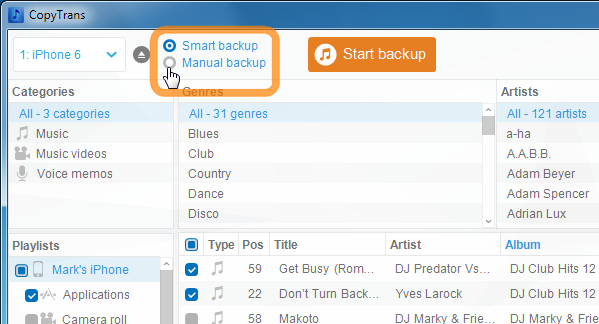manual backup vs smart backup in copytrans