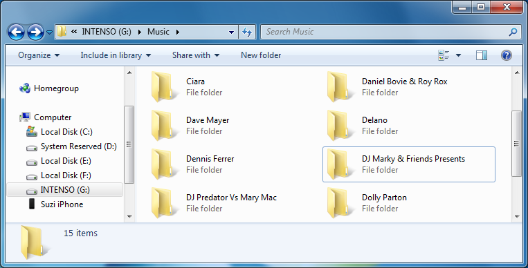 music album folders in windows explorer window